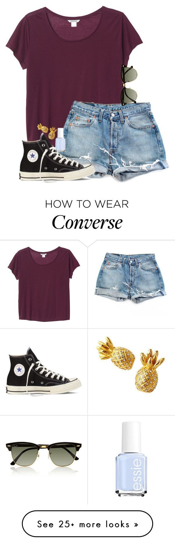 """""""Summer Vibes✌️"""" by daydreammmm on Polyvore featuring Monki, Levi's, Converse, Ray-Ban and Essie"""
