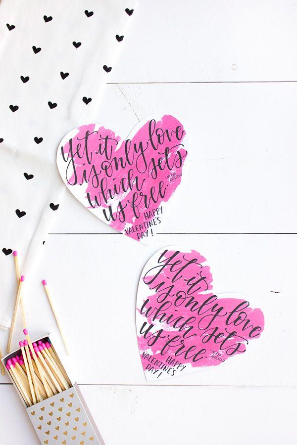 Printable Calligraphy Valentines