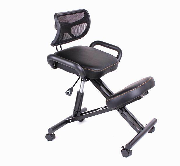 Ergonomis Lutut Kursi dengan Kembali dan Menangani Kulit Hitam Kursi Kantor Kursi Berlutut Postur Ergonomis Dengan Kastor