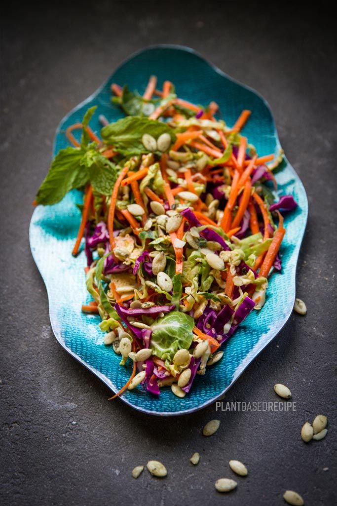 Shaved Brussel Sprout, Cabbage & Carrot Salad