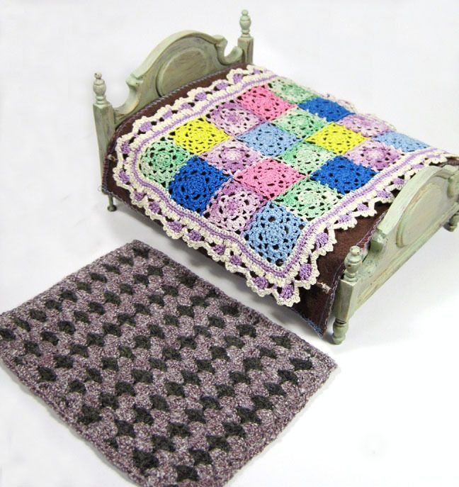I listed this miniature dollhouse lot on eBay:  patchwork style crochet afghan, with a knit bedspread and matching rug.