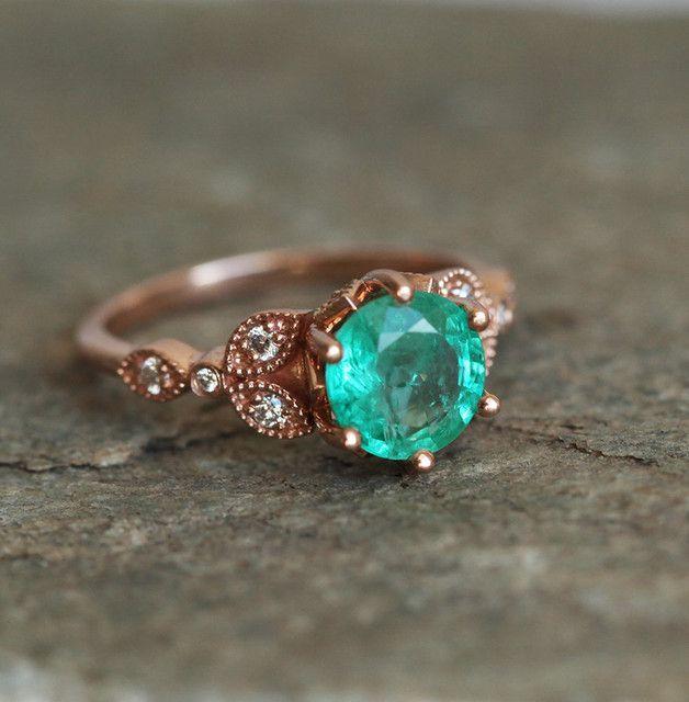 Vintage Emerald Engagement Ring - Capucinne - Pierścionki zaręczynowe