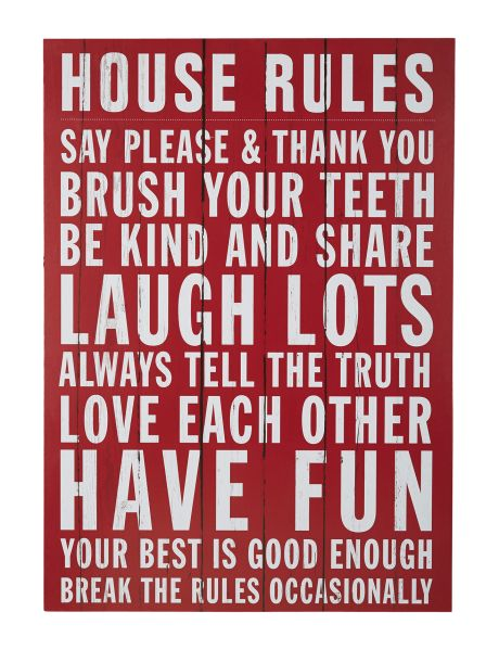 Bring an uplifting touch to any room in your home with this House Rules wall art. #NewandNow