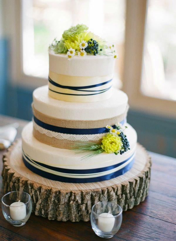 ADD diy <3 <3 Www.customweddingprintables.com ... Military wedding, Pippin Hill Farms, rustic, farm wedding, wedding cake, blue and yellow
