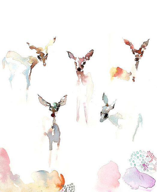 .. watercolor fawns .PFR Design Inspired Living would love this as a wall in a nursery or child's room.