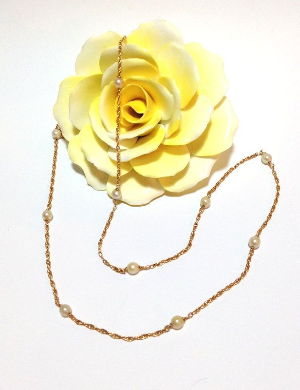 Vintage 14k Gold Pearl Necklace, Gold Rope Chain, Small Cultured Pearls, Victorian Style, Antique Jewelry, Something Old Bridal Necklace by FlyingCraneThrift on Etsy