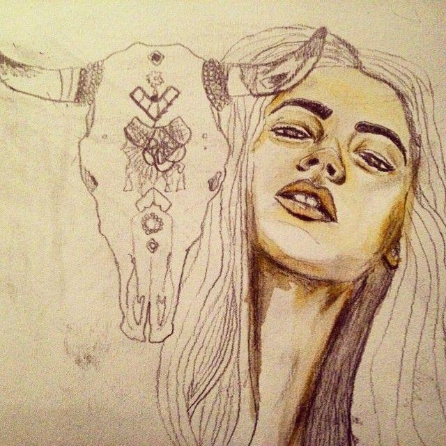 Work in progress. #girl #cowskull #skull #face #fashionillustrator #fashionillustration #art #artist #alluramaison #drawing #fashionsketch #artwork #painting #watercolor #watercolorpencils #boho #bohoart #bohemian #gypsy #daydream