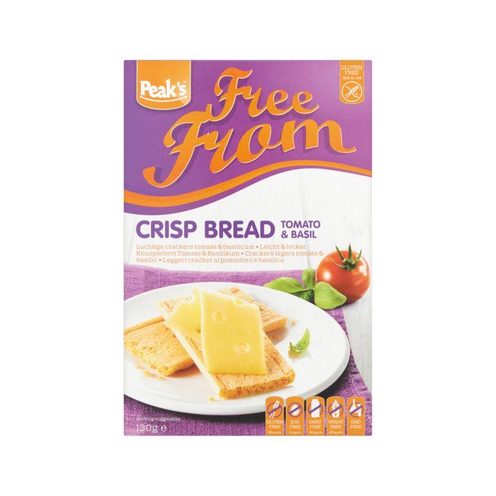 Peak's Free From Luchtige Crackers Tomaat & Basilicum 2 x 65g - Crackers, ontbijtbiscuits