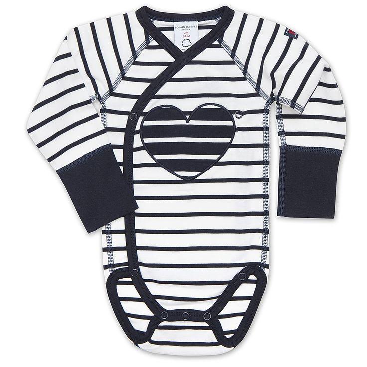 Love Hearts striped baby grow
