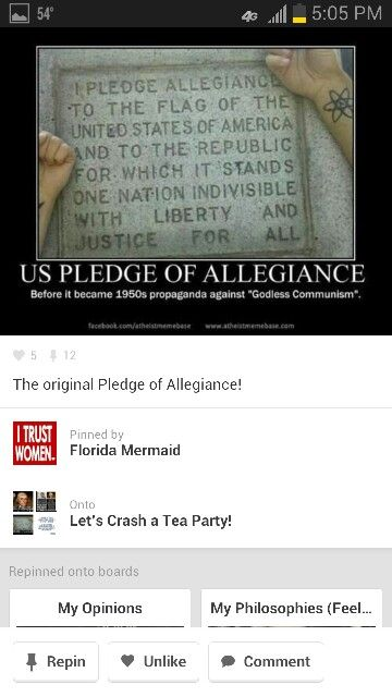 The original Pledge of Allegiance, before it was changed in the 1950s (I'm pretty sure it was the 1950s)