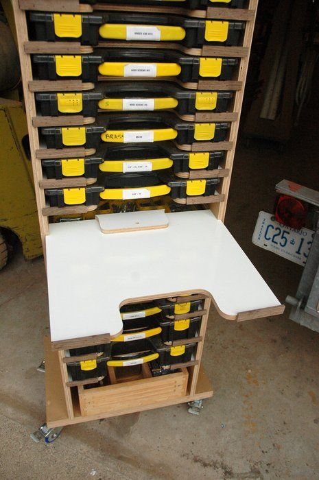 Mobile Modular Small Parts Rack - Inexpensive Adam Savage Style sortimo tool box/parts rack - by AdrianM @ LumberJocks.com ~ woodworking community