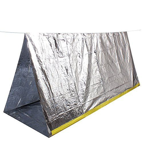 OUSPOTS Emergency Shelter Camping Shelter Mylar Thermal Reflective Cold Weather Outdoor Shelter Emergency Survive Safety Sleeping Camping Shelter Silver