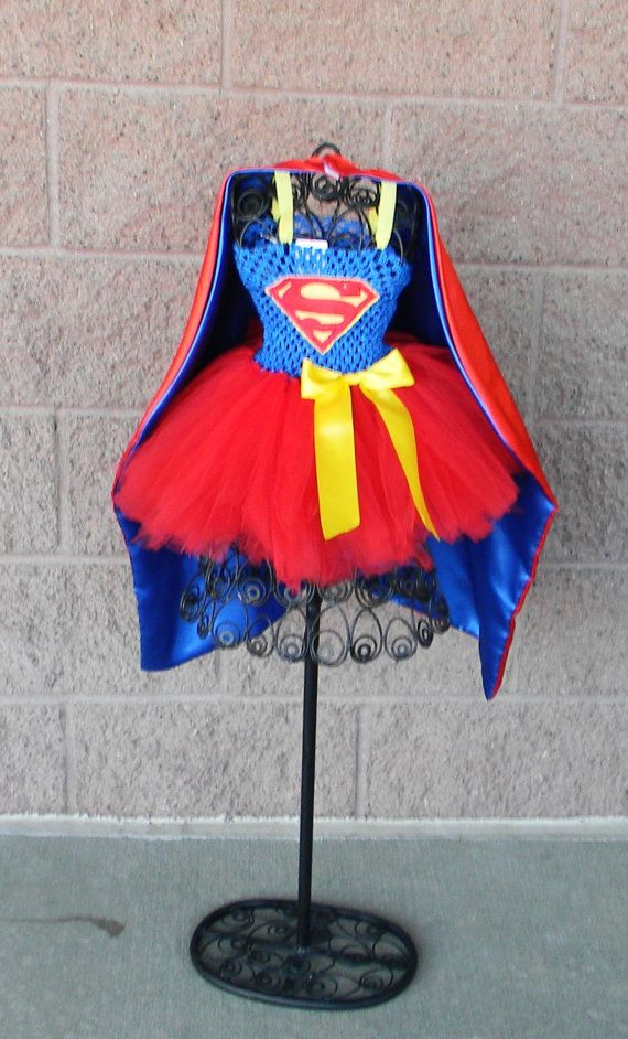 Supergirl/Superman Tutu Dress with cape by LYMChildrensCreation