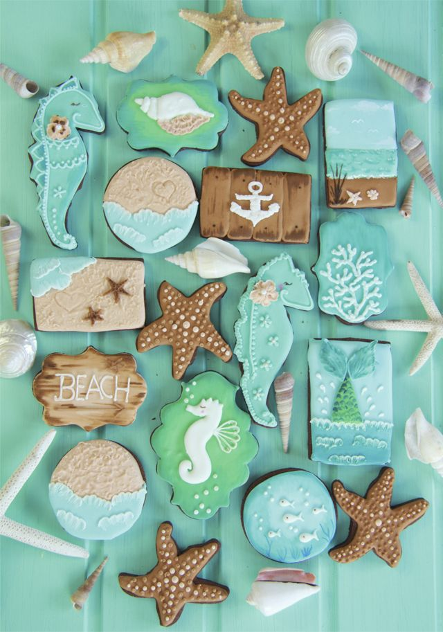 Beach Cookies~                  By Dulce Sentimientos, Galletas marinas, blue, green, teal seahorse, Brown starfish, green mermaid tails, sand, white coral