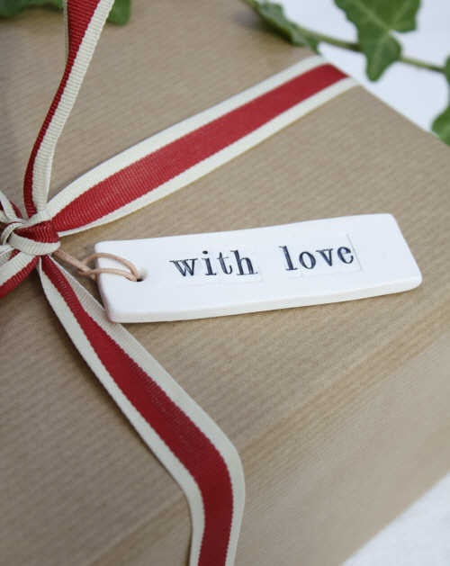 Porcelain 'With Love' Labels and a ribbon