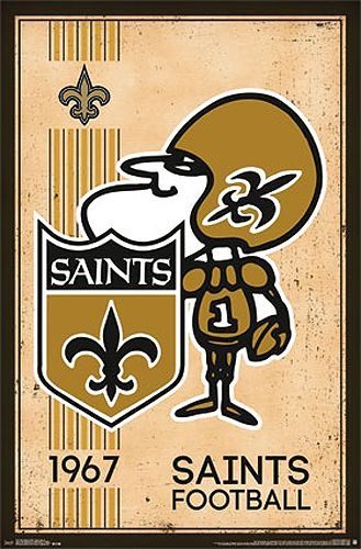 NFL Heritage Series NEW ORLEANS SAINTS Retro Logo c.1967 Official Team Poster - Costacos Sports