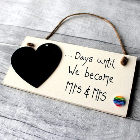 lesbian engagement gifts - Beautiful engagement gifts for couples to countdown the days until the big day. When two becomes one! Unique Engagement gift ideas the Engaged couple can use as their Wedding Day comes near.