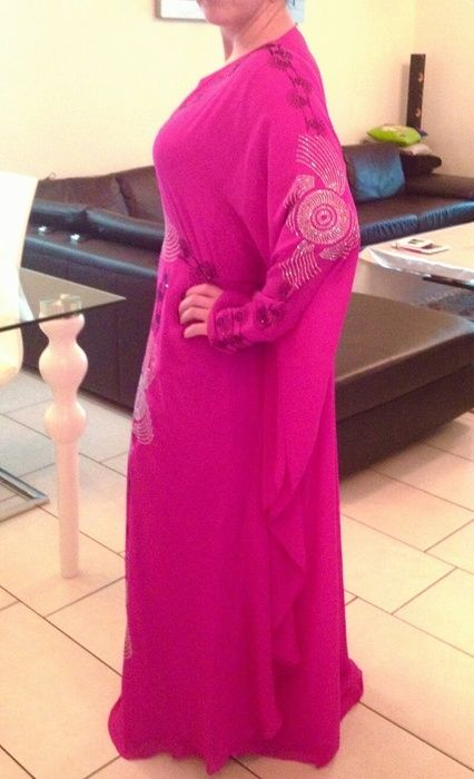 Abendkleid Kaftan in Fuchsia Dubai 40 bis 48