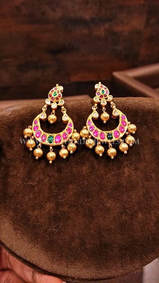 Gold Light Weight Antique Kemp Chandbali Designs, Gold Short Antique Chandbali Earrings Models.