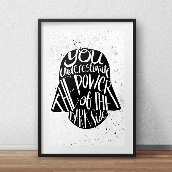 Star Wars Darth Vader Helm Typografie Zitat von PenelopeLovePrints