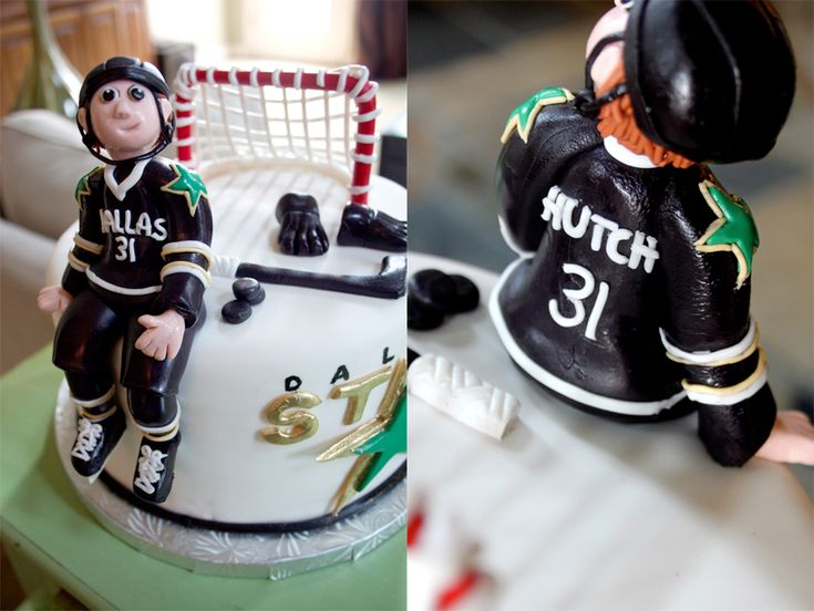 Hockey player cake topper made of fondant. Best one I have seen!