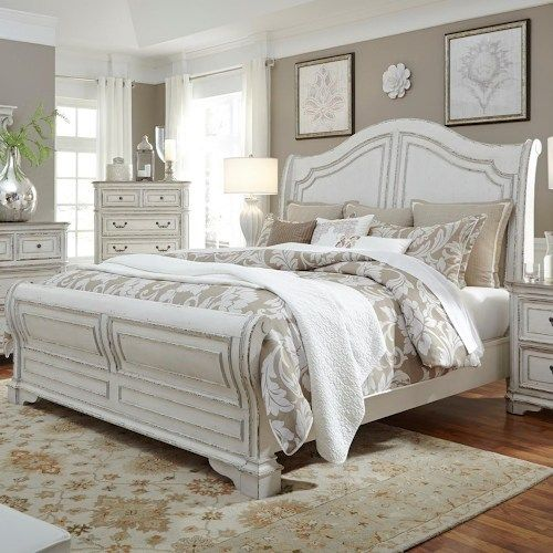 Liberty Furniture Magnolia Manor Queen Sleigh Bed with Antique White Finish