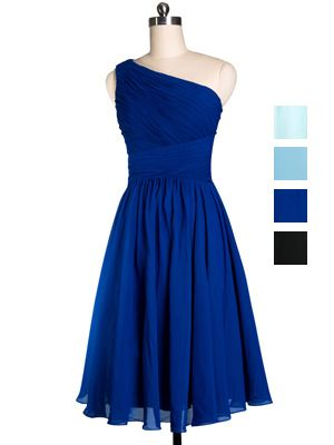 Cute Short One-shoulder Navy Blue/ Dark Blue Bridesmaid Dress