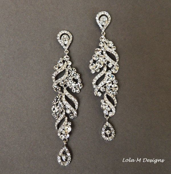 Bridal chandelier earrings wedding jewelry by Lolambridal on Etsy, $78.00