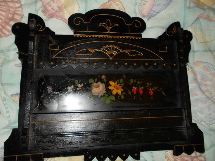 Antique Ebonized Victorian Wall Mount Magazine Rack~Eastlake & Tole Insert~Nice~