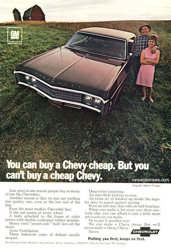 1969 Impala Sports Coupe - You can buy a Chevrolet cheap. But you can't buy a cheap Chevy - Original Ad