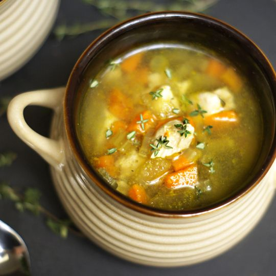 Detoxinista's Classic Chicken & Vegetable Soup. Made this tonight and added cubed red potatoes and dill. YUM!