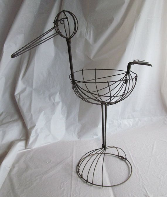 "Vintage Wire Baby Shower Stork Decoration - 15"" Tall - Great for Baby Shower Decorations"