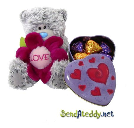 Tatty Teddy & a heart box with heart chocolates. Wrapped in cellophane. http://www.sendateddy.net/love-teddy-bears.php#!/~/product/category=6342078&id=32903854 #sendateddy