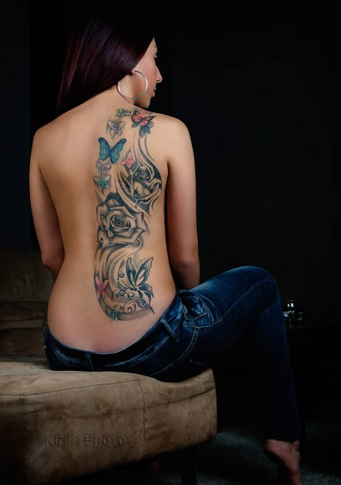 Grey Rose And Colored Butterflies Back Tattoo For Girls