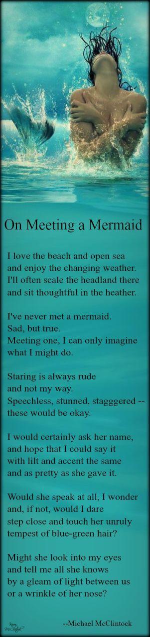 """Ocean Sea: """"On Meeting a #Mermaid,"""" by Michael McClintock."""