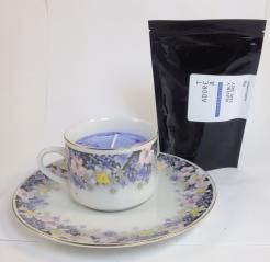 Teacup Candle. Lavender Infused.208  I am hand made with 100% SOY wax. My cup has been recycled / re-used / re-loved / re-newed / TEA-incarnated as a beautiful tea cup candle infused just for you. Included with me is a 50g bag of Tea