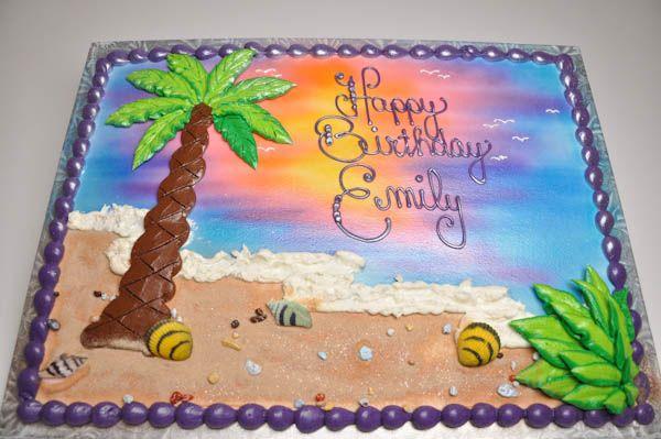 beach themed birthday sheet cake ideas - Google Search