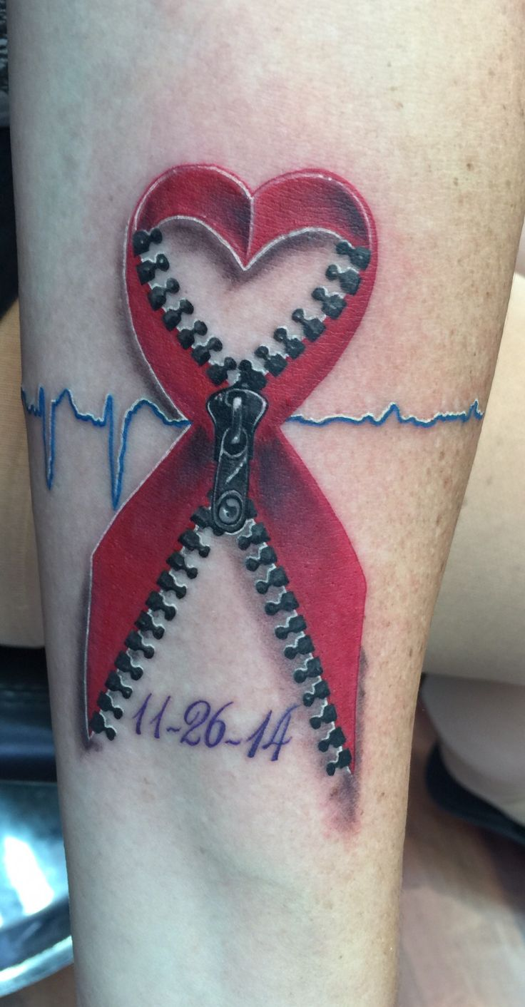 My tattoo done 8/5/2015 consists of my Dads EKG before & the day he passed away. Red ribbon represents Heart disease & zipper for his open heart surgery. Date is the day he passed.....