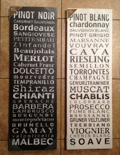 2 Red White Wine Types Lists Wall Decor Canvas Art Painting Hanging Bar  Signs