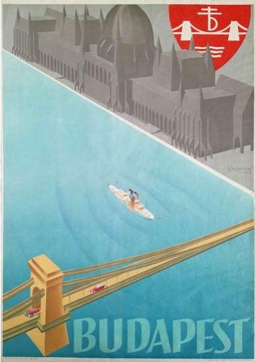 Budapest vintage travel poster by I.F.J Aladar Richter, 1936