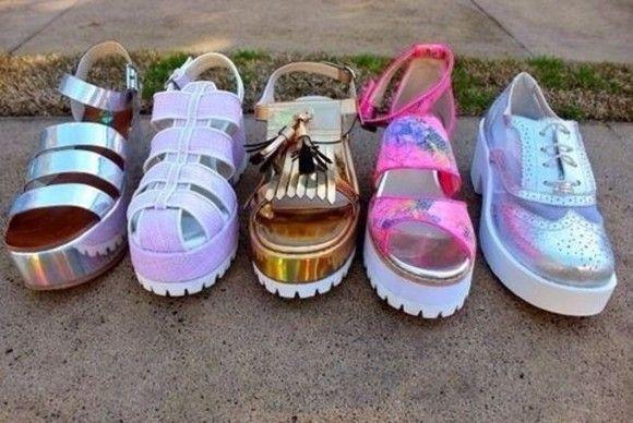 shoes holographic platform shoes hologram pale tumblr weheartit grunge sandals soft grunge pink silver