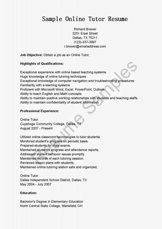Tutor Resume Sample Resume Resume Examples Cover Letter For Resume