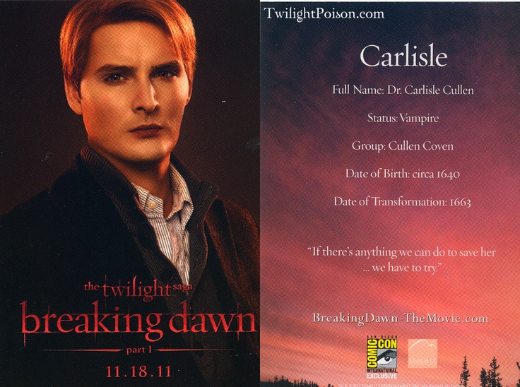 Carlisle stats Breaking Dawn 1
