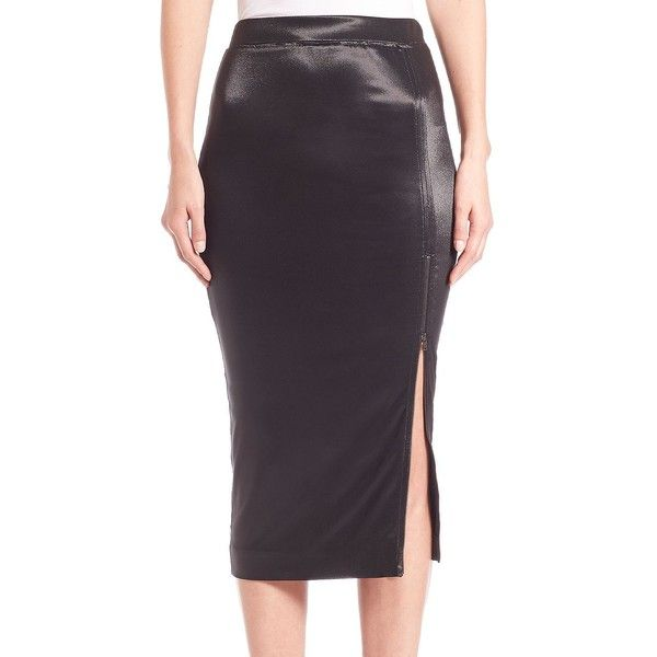 ATM Anthony Thomas Melillo Midi Zip Pencil Skirt ($395) ❤ liked on Polyvore featuring skirts, apparel & accessories, black, calf length skirts, pencil skirt, shiny skirt, long skirts and mid calf pencil skirt