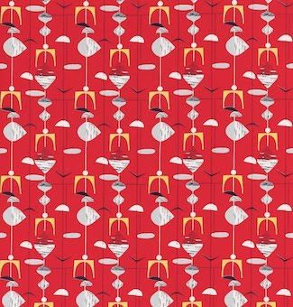 """""""Mobiles"""" in red by Marian Mahler, mid 1950s."""