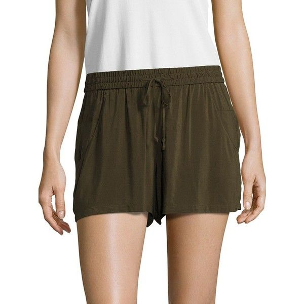 French Connection Women's Drawstring Shorts ($78) ❤ liked on Polyvore featuring shorts, wood green, red shorts, french connection shorts, draw string shorts, french connection and drawstring shorts