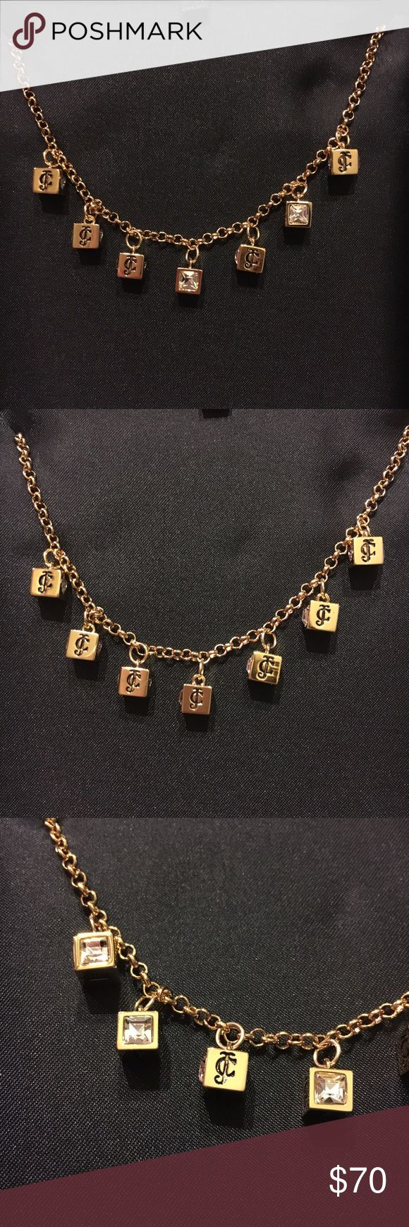 NWT Juicy Couture Necklace - NWT Juicy Couture Monogrammed Necklace     - Gold chain necklace with monogram cube pendants. One side of cube is a diamond and the other is the juicy couture symbol.    - 16 inches long with 3 inch extendable length    - NEW WITH TAGS and comes in original box Juicy Couture Jewelry Necklaces