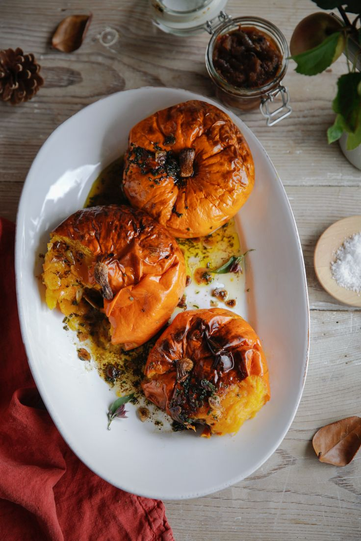 Baked heritage squash with brown butter, garlic and sage. Find the recipe in our free recipe eBook for autumn.
