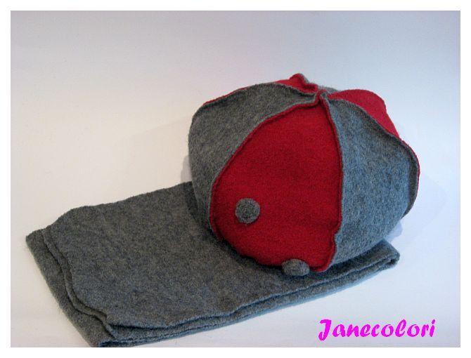 SALDI cuffia berretto bambina lana cotta grigio/rosso : Moda bambina di janecolori