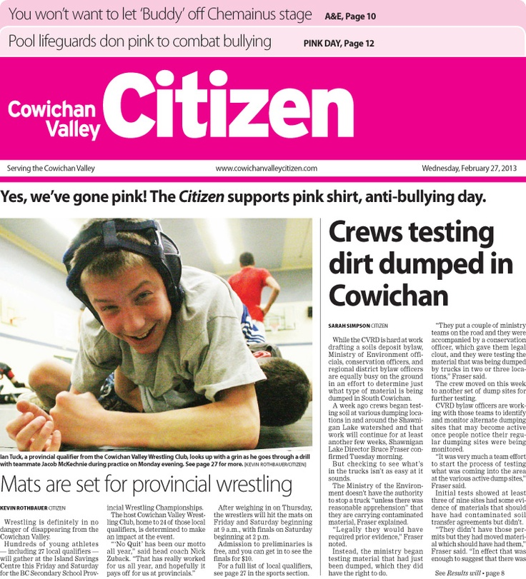 Anti-Bullying Day Special Edition  Citizen Front Page Feb. 27, 2012